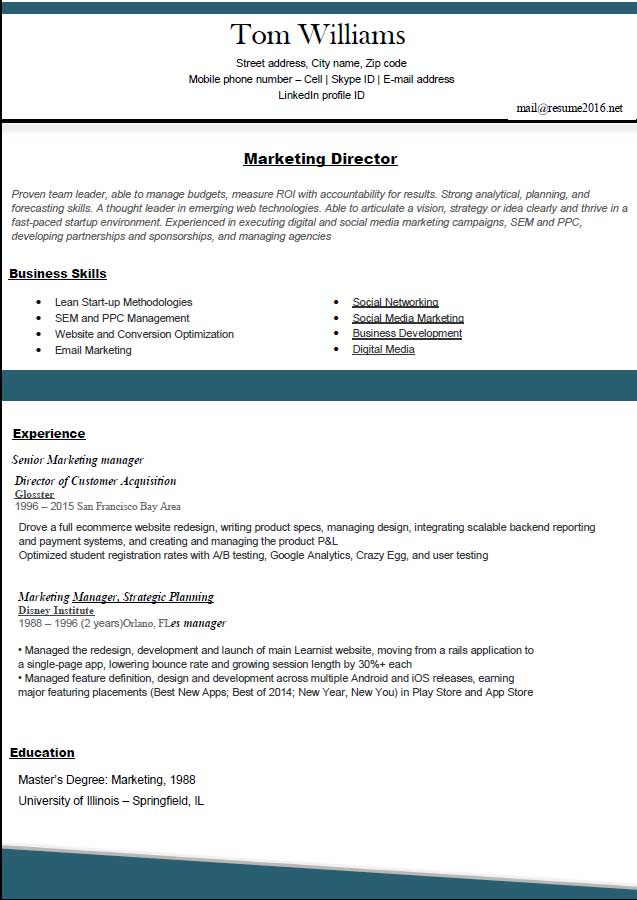resume format 2016 12 free to download word templates - Standard Format Resume