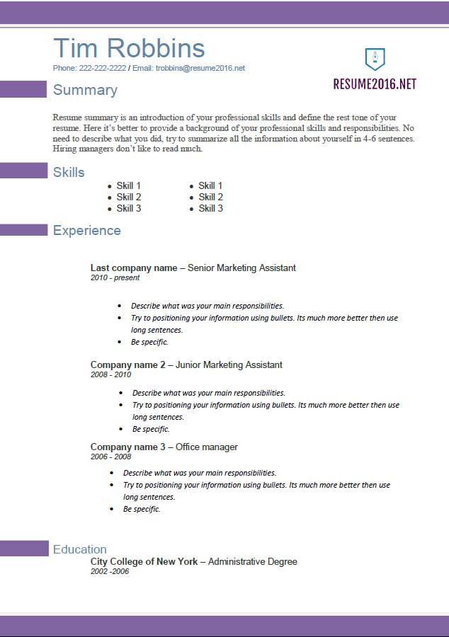Resume templates 2016 Which one should you choose – Updated Resume Formats