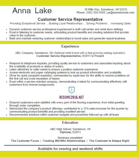 customer service representative resume example 2016 - Customer Service Resumes Templates
