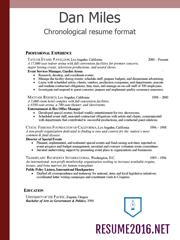 Chronological resume format 2016