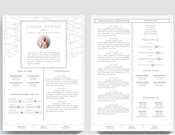 2 Page Resume Template. Examples Of Resumes 2 Page Resume Format