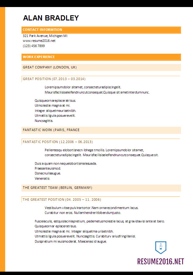 Resume Format 2017 - 20 FREE Word Templates •